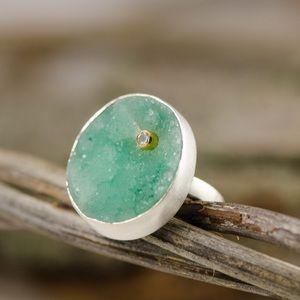 [emily rose gems] green druzy silver ring